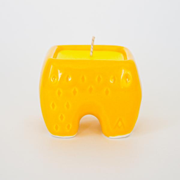 Yellow Ceramic candle