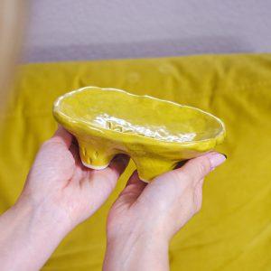 Yellow soap dish